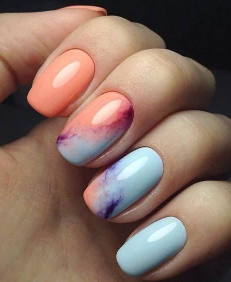 watercolor nail art design