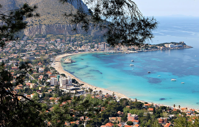 view of Mondello, one of the most beautiful beaches of Palermo, italy