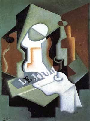 Garrafa e Fruteira - Técnica de colagem e cubismo nas obras de Juan Gris
