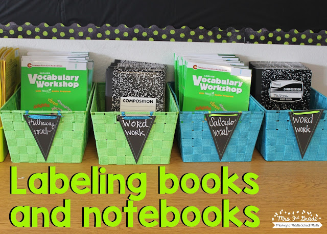 Labeling student notebooks and workbooks with numbers is a great way to prepare before school starts and you have your student roster.