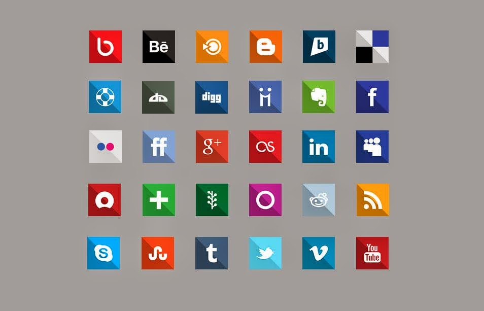30 Flat Design Social Media Icons