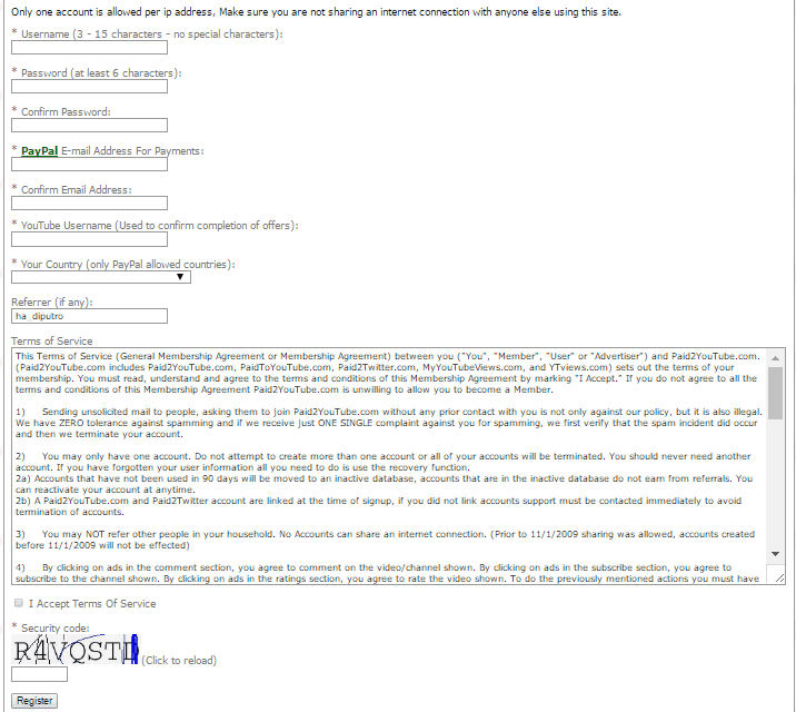 Cara Membuat Akun Paid2Youtube
