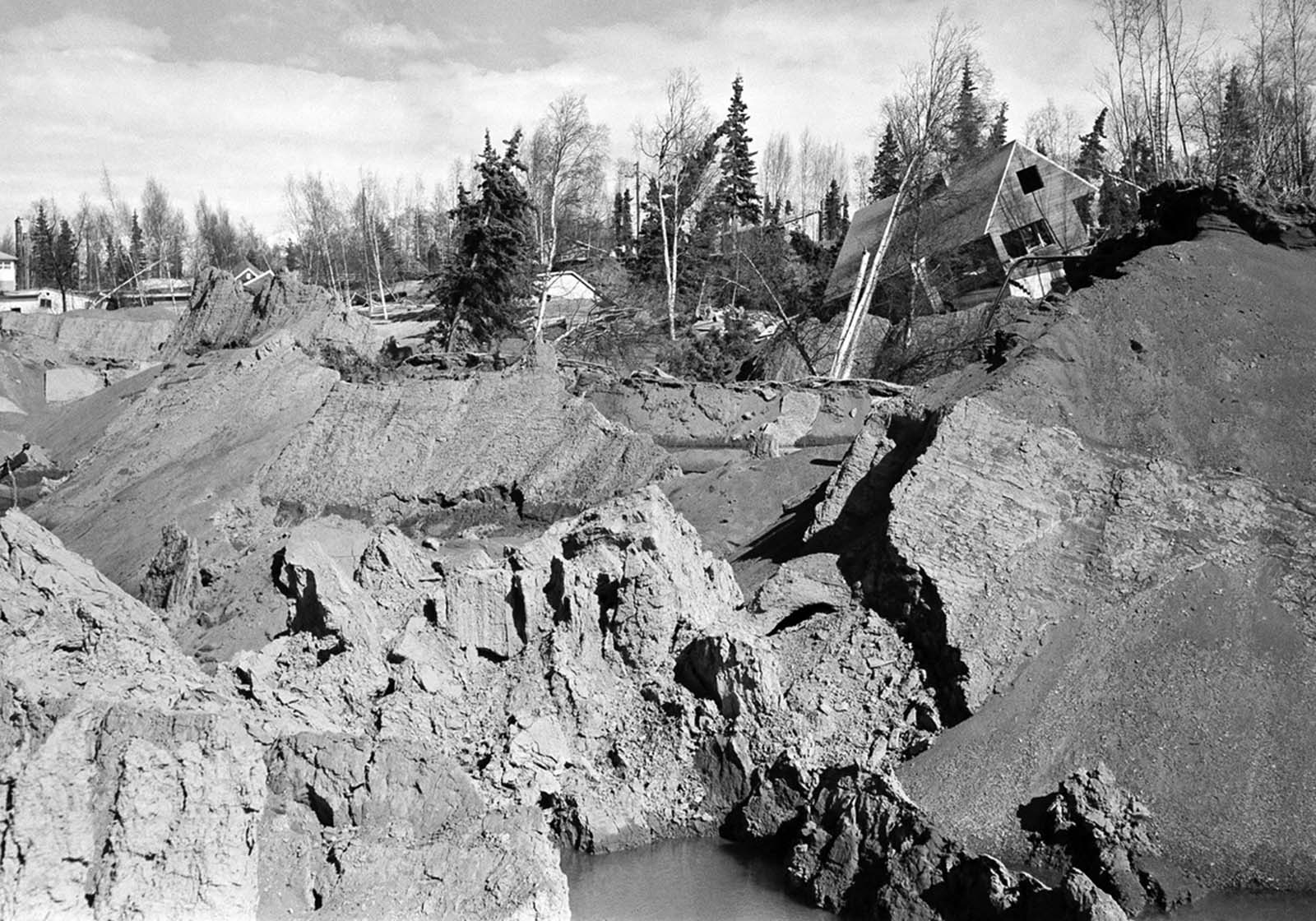 An earthquake-and-landslide-damaged neighborhood in Anchorage, Alaska.