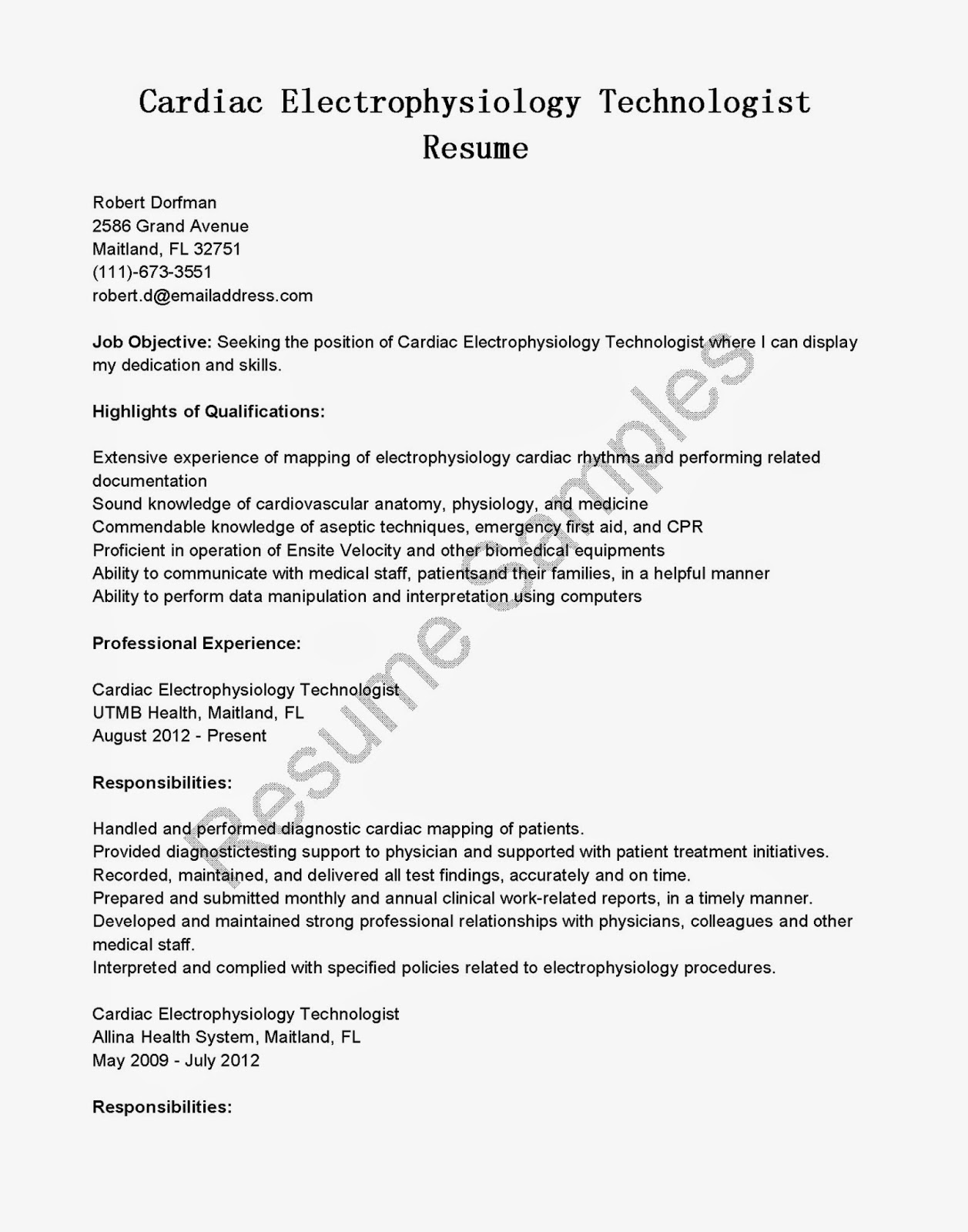 resume samples  cardiac electrophysiology technologist