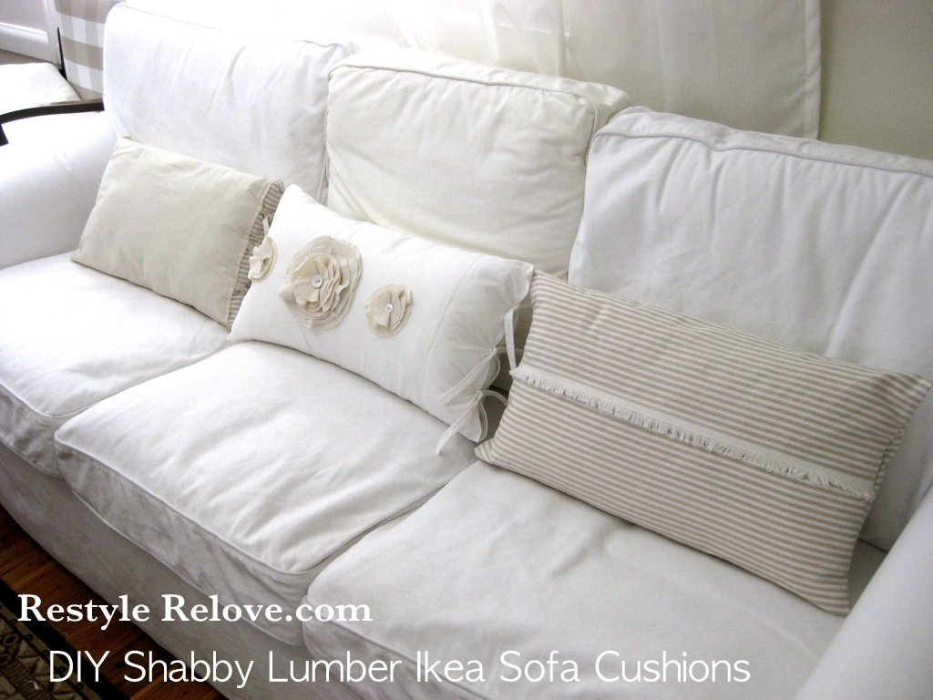 sewing sofa cushion covers chesterfield uk ebay diy shabby lumber cushions for ikea ektorp