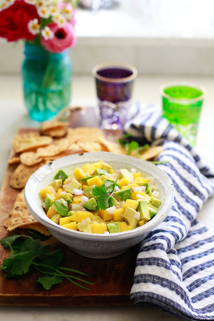 A bowl of mango avocado salsa is perfect with chips or tacos.