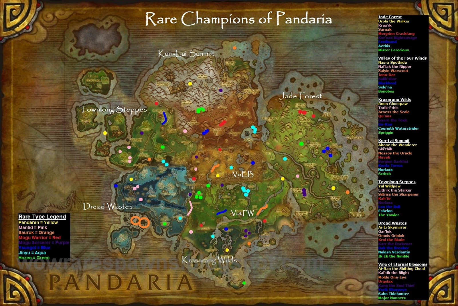 Wow Rare Spawns Map Of Rare Pandarian Champions By Type