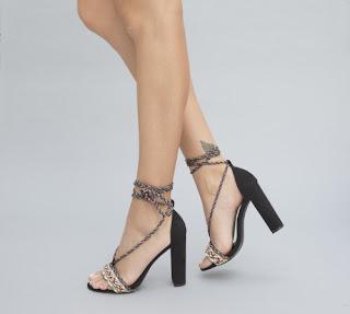 sandale negre cu snur de vara cu toc inalt gros