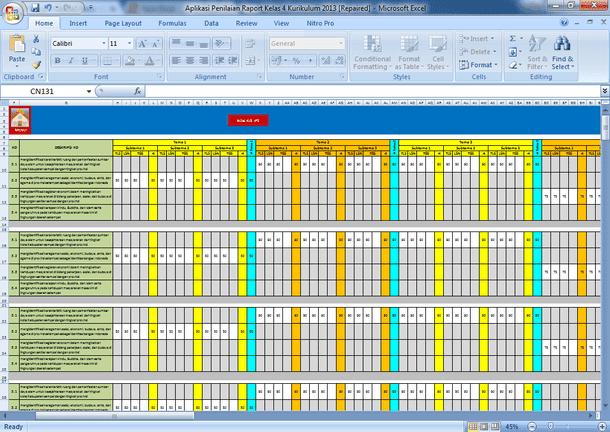Aplikasi Penilaian Kurikulum 2013 SD MI Format Excel Revisi 2016