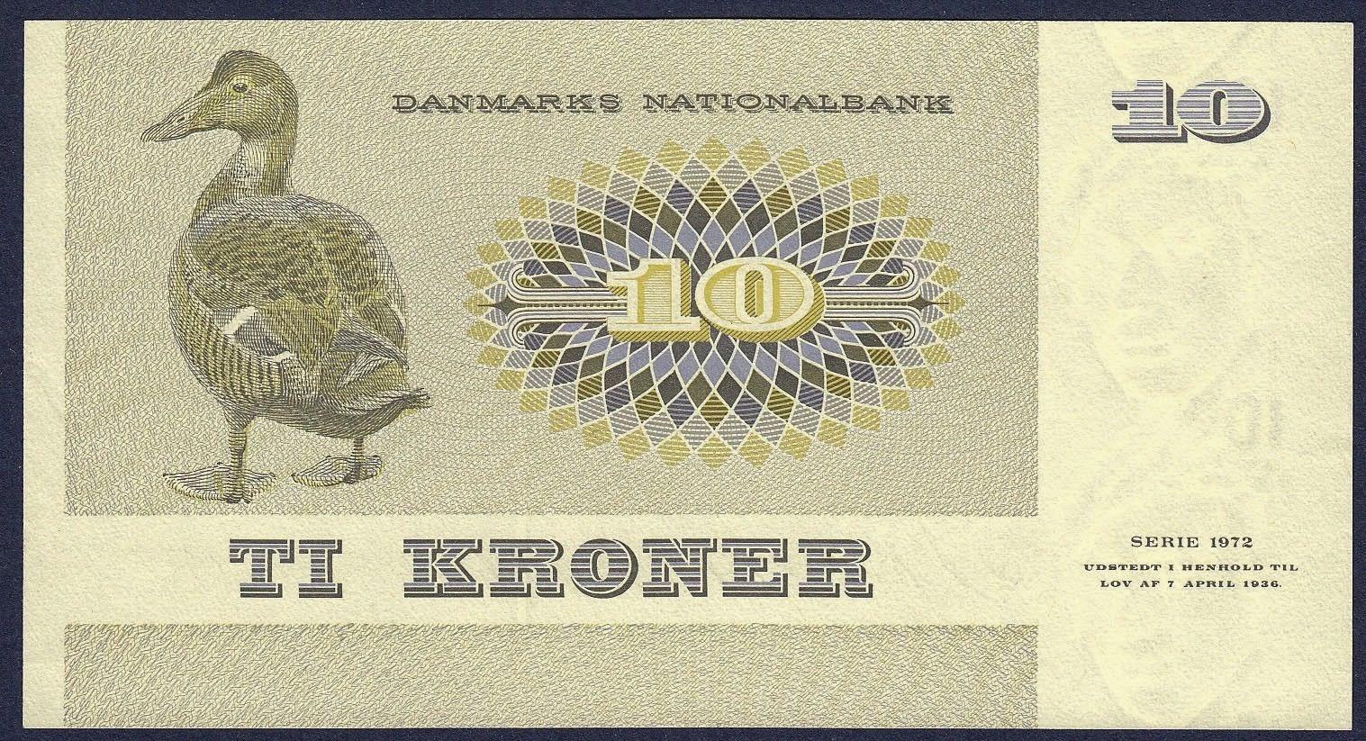 10 Danish Kroner note 1972 Queen eider