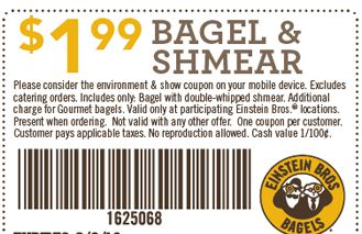 20% Off Einstein Bagels Best Coupons & Promo Codes - Nov. 20% off How to access Einstein Bros coupons. The einstein bagels best coupons are easily found in the derpychap.ml website which also has a list of all the current in-store offers.