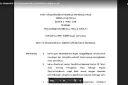 Permendikbud tahun 2018 Tentang Jabatan Kepala Sekolah