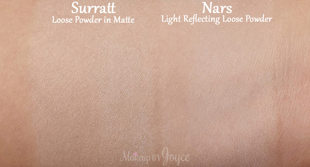 Surratt Diaphane Loose Powder Cartridge in Matte Nars Light Reflecting Swatches