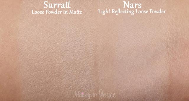 Surratt Diaphane Loose Powder Cartridge in Matte Nars Light Reflecting Swatches