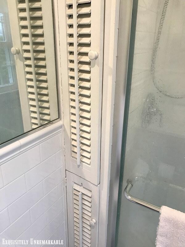 Shuttered Cabinet Doors in the bathroom