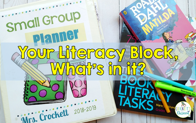What goes on during your literacy block time?  Find out the three parts I include in my literacy block.