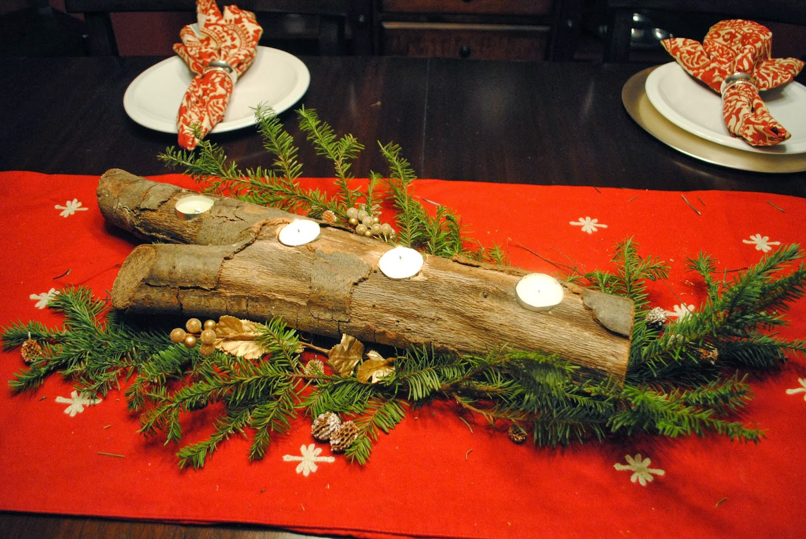 Christmas Candle Holders Logs