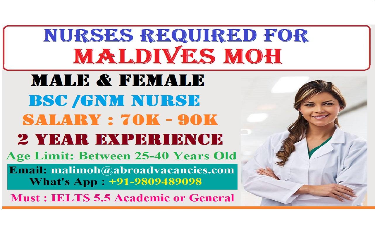 MALDIVES MOH STAFF NURSE VACANCY 2019