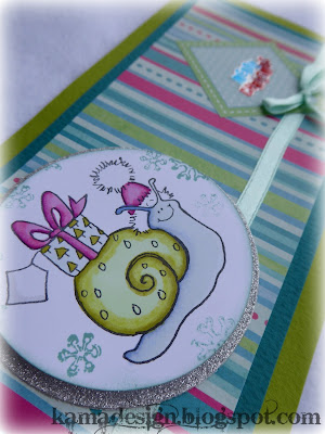 Penny Black Christmas snail card detail