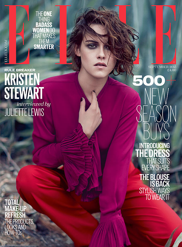 Kristen Stewart covers Elle UK September 2015 in Gucci