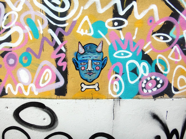 Graffiti Paste Up Sticker Street Art Berriblue Porto Devil Face Blue Bone