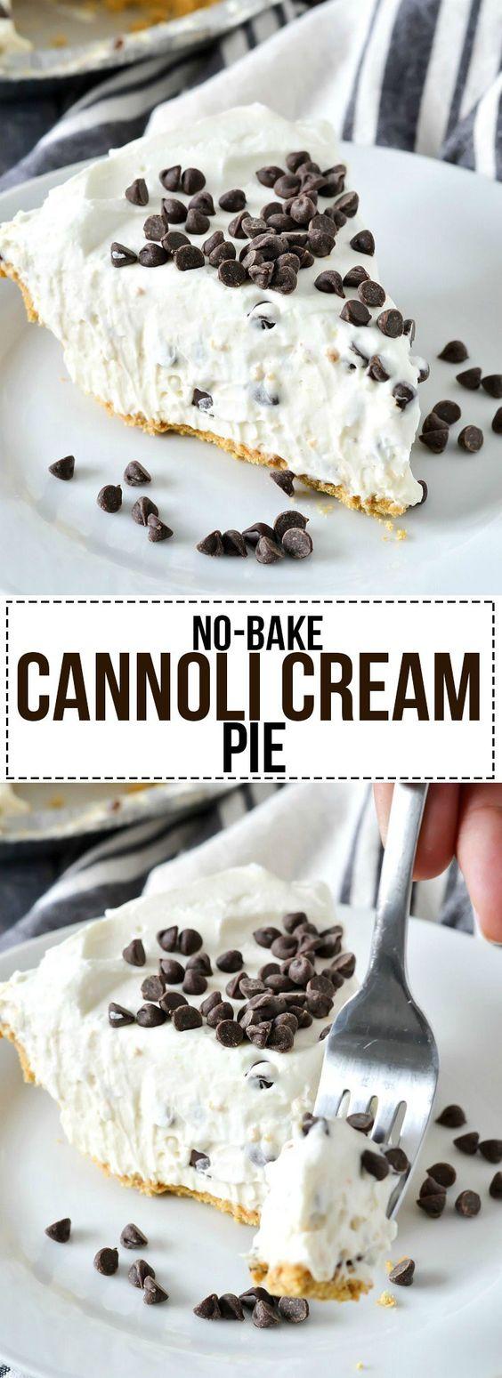 No-Bake Cannoli Cream Pie