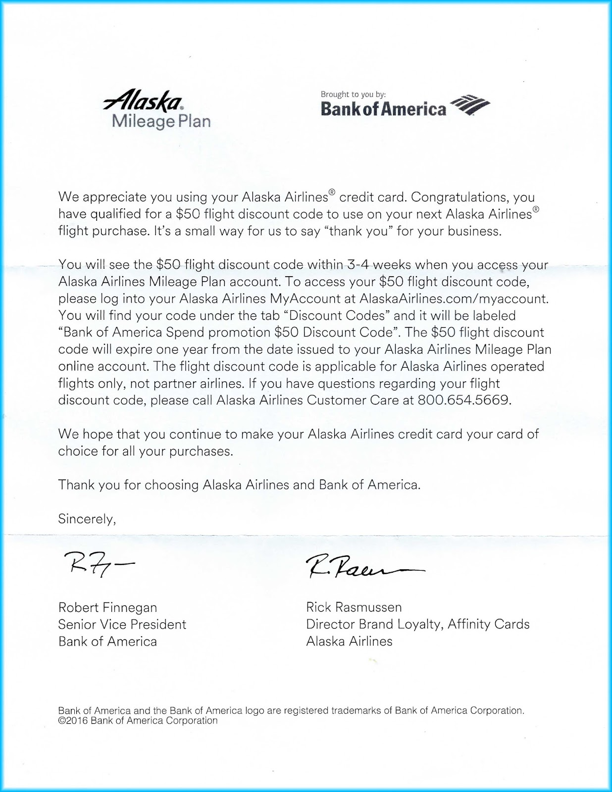 Did you get a 50 alaska airlines credit from bank of america check letter from bank of america click on image to enlarge altavistaventures Images