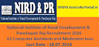 National Institute of Rural Development & Panchayati Raj Recruitment 2016 for 62 Various Posts