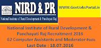 National Institute of Rural Development & Panchayati Raj Recruitment 2016 for 62 Various Posts