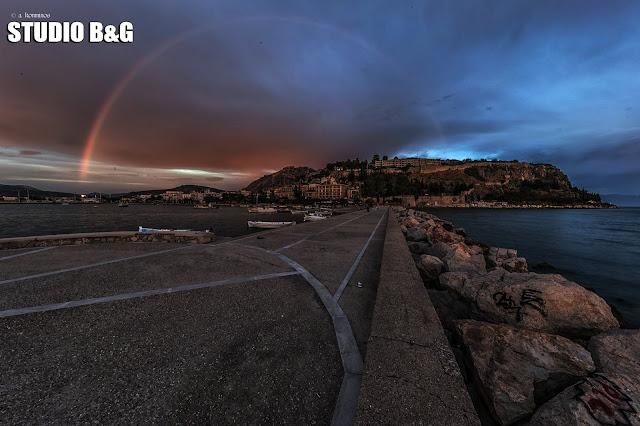 Η φωτογραφια της ημέρας: Ουράνιο τόξο στο Ναύπλιο
