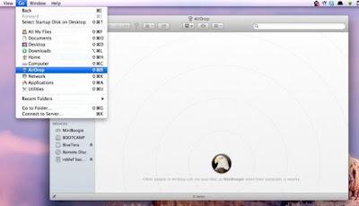 Airdrop through context menu
