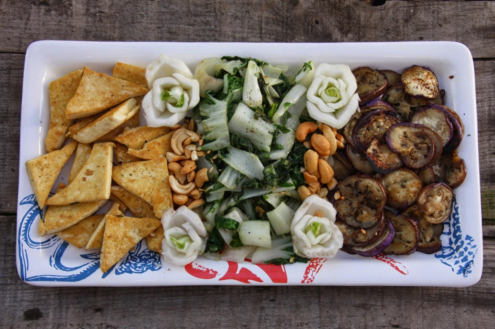 Tofu, bok choy, eggplant and cashew platter
