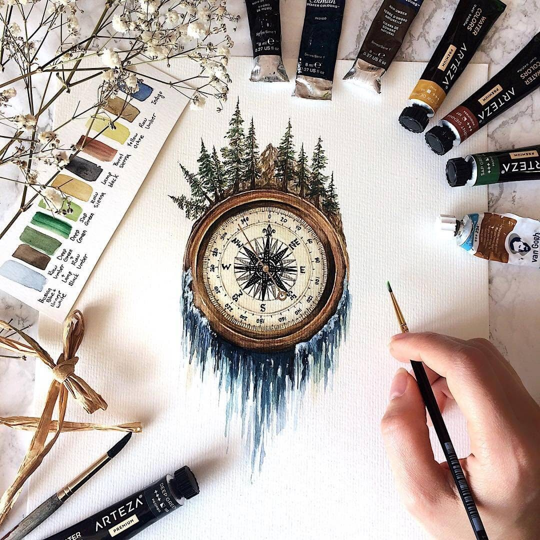 08-Compass-Waterfall-Tiny-Watercolors-Compasses-Light-Bulbs-and-Trees-www-designstack-co
