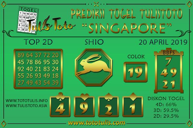 Prediksi Togel SINGAPORE TULISTOTO 20 APRIL 2019