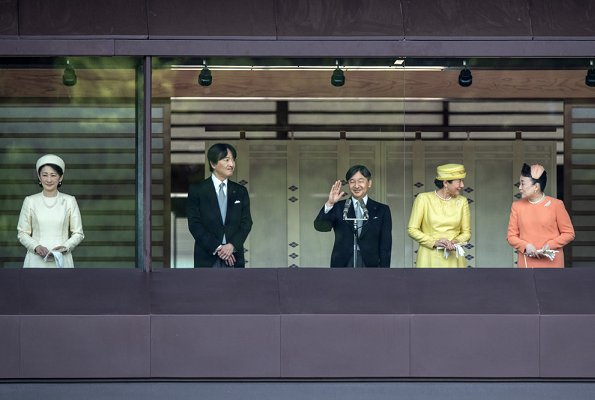Emperor Naruhito, Empress Masako, Crown Prince Akishino, Crown Princess Kiko, Princess Mako, Princess Kako and Princess Tomohito