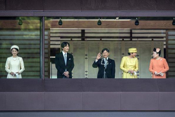 Emperor Naruhito, Empress Masako, Crown Prince Akishino, Crown Princess Kiko, Princess Mako, Princess Kako and Princess Tomohito