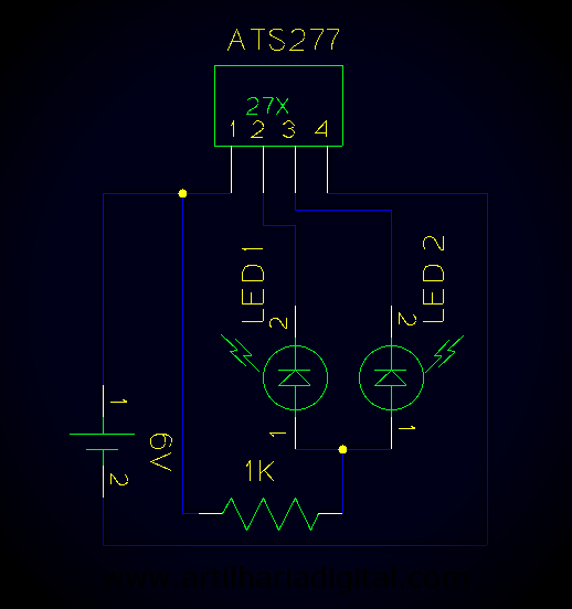 Detector de polaridade magnética com sensor Hall.