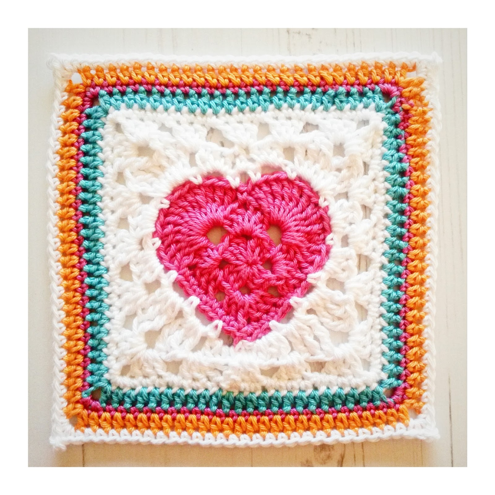 Crochet Granny Square Heart Patterns : Crochet Tea Party: Granny Heart Square