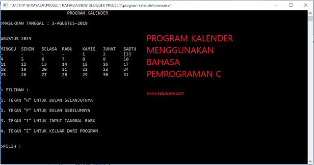Contoh Pemrograman C Aplikasi Pembuatan Kalender