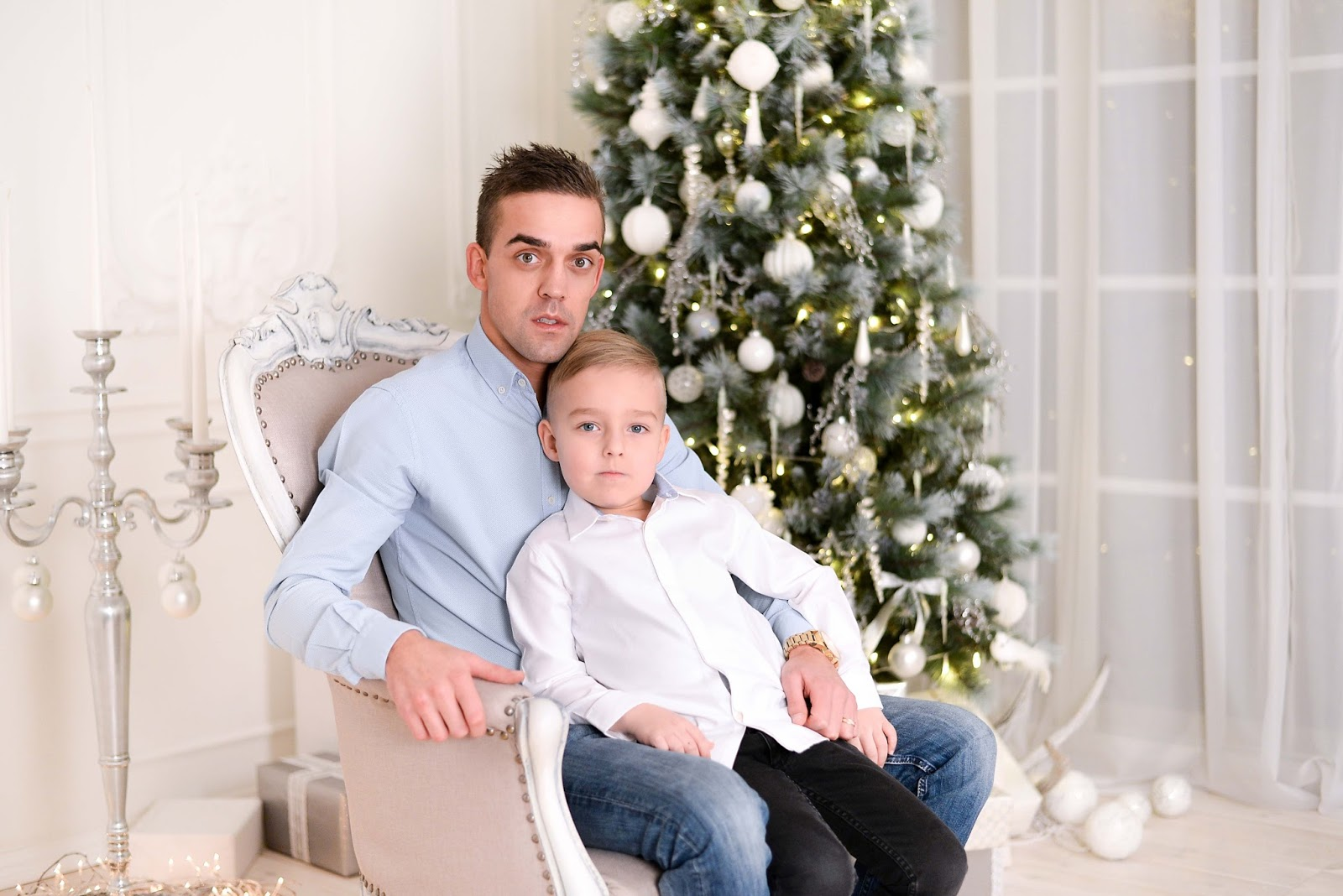 father son white christmas photoshoot