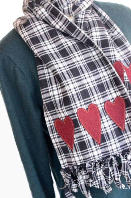 Flannel Heart Scarf