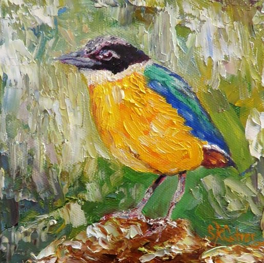 "Yellow Bird 6"" x 6"" x 1.5"" original oils on deep wrapped canvas SOLD"