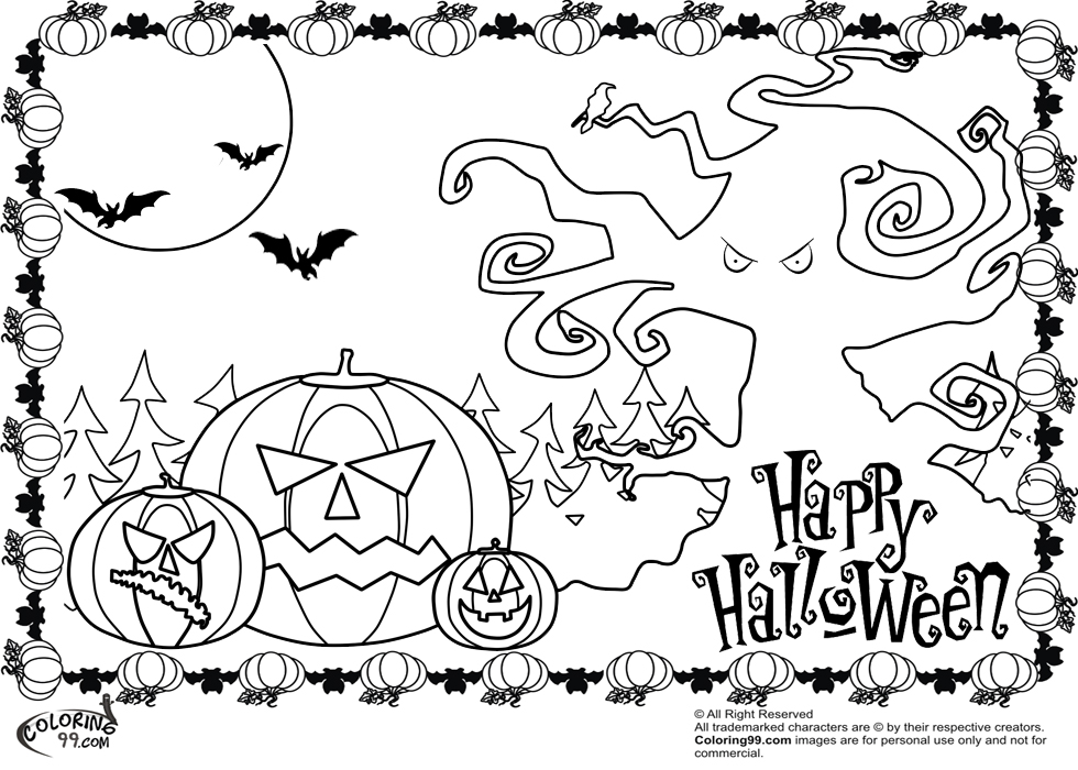 scary halloween pumpkin coloring pages - Cute Halloween Cat Coloring Pages