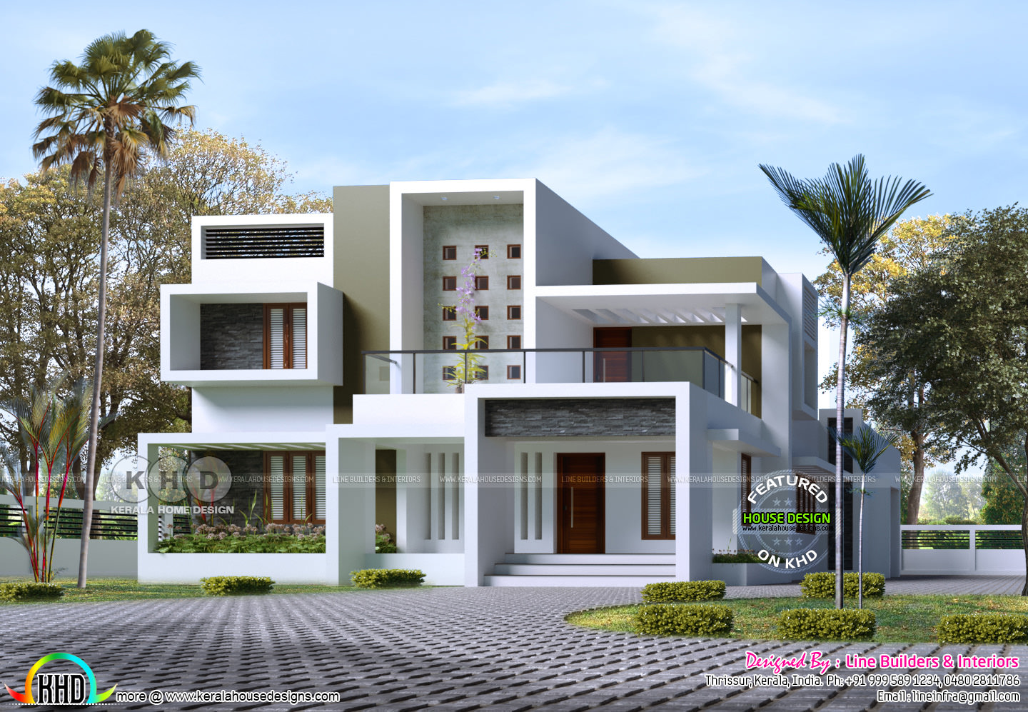 2354 Sq Ft Box Type Contemporary House Rendering Kerala