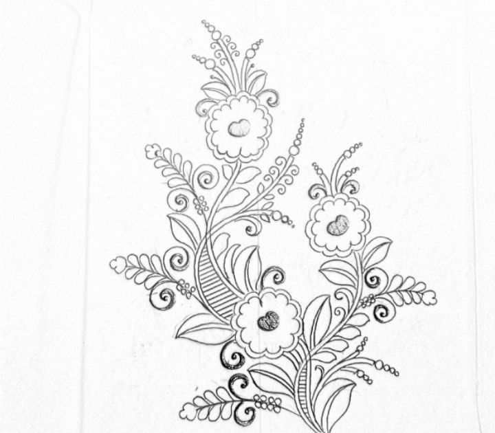Pencil Drawings Flower Design For Hand Emroidery Saree Design