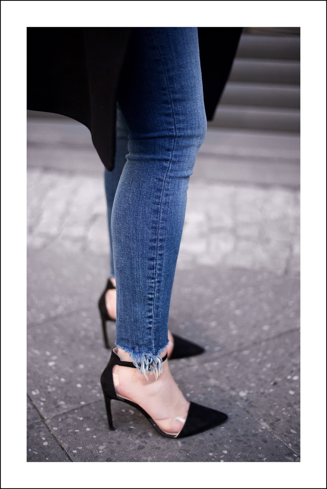zara pumps and fringed jeans
