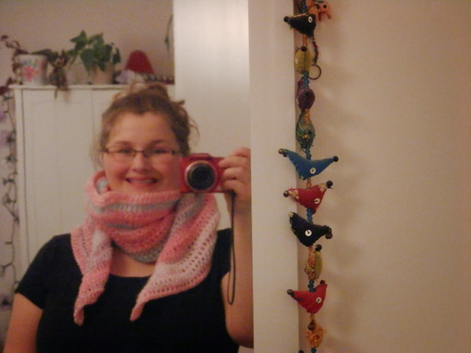 Pink Clouds, Short Tip Triangle Crochet Scarf. Free pattern from Ravelry.  secondhandsusie.blogspot.co.uk