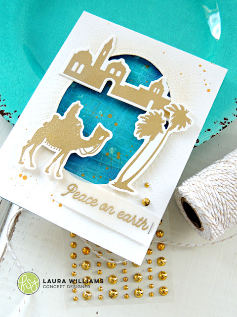 elegant gold handmade christmas card idea with fun stampers journey stamps and dies, plus embossing techniques and layering tips and ideas for handmade cards #lauralooloo #christmascards #funstampersjourney #christmascrafts #cardmaking #stamping #diecutting