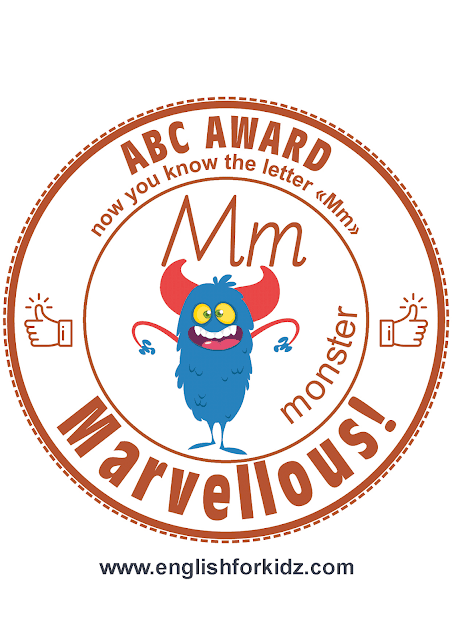 Printable award for ABC learning -- letter m is for monster