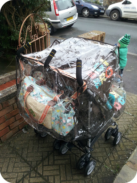 Cosatto supa dupa raincover, double stroller in the rain